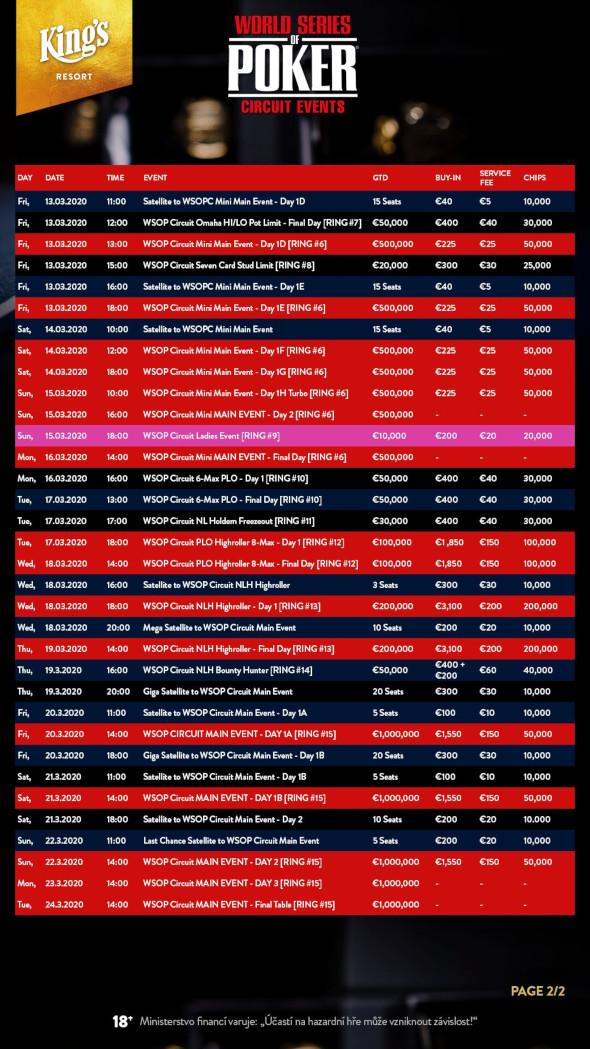 Program jarního WSOP Circuit v King's - 2