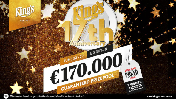 King's 17th Anniversary Celebration garantuje €170,000 v prize poolu