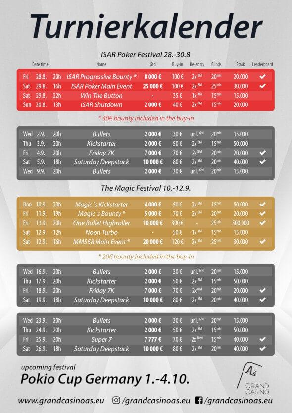 Program turnajů v Grand Casinu - září 2020
