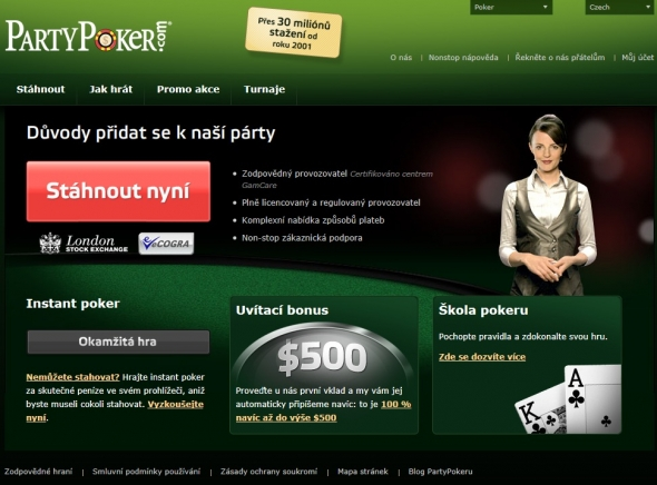Party Poker registrace